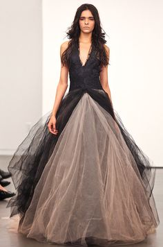 This black Vera Wang #wedding dress is one of her most popular here on Pinterest. Click to see the full collection!