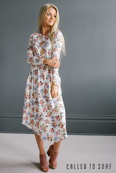 Charleston Floral Dress | Dress it up without sacrificing comfort. And of course there's pockets! Shop the look at calledtosurf.com