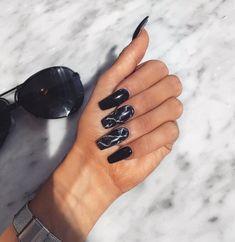 Acrylic nail designs, nail art designs, marble nail designs, black marble n Marble Acrylic Nails, Best Acrylic Nails, Acrylic Nail Designs, Black Marble Nails, Cute Black Nails, Black Chrome Nails, Long Black Nails, Black Nail Designs, Perfect Nails