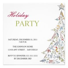 Leaves And Swirls Christmas Tree Holiday Party Invitation
