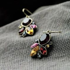 Graceful Resin Stone Antique Gold Color Drop Earrings