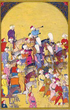"""Janitscharenkapelle (mehterhane) Eine eigene Feldkapelle aus Janitscharen (mehterhane) begleitete das Heer auf seinen Kriegszügen. Hier ist ein Teil der Militärkapelle zu Pferd zu sehen, auf großen Trommeln, Becken, Kesselpauken und Trompeten musizierend.  Levni, osmanische Miniaturmalerei, aus dem """"Surname-ı Vehbi"""" (fol. 171b)."""