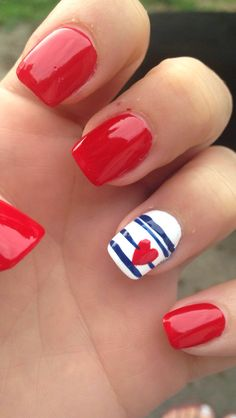 4th of July acrylic nails! Red, white, and blue with a heart!