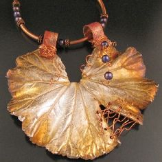 Large Geranium Leaf Pendant made with silver clay paste