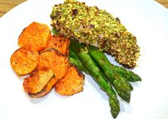 Pistachio Crusted Chicken with Sweet Potato Rounds and Asparagus