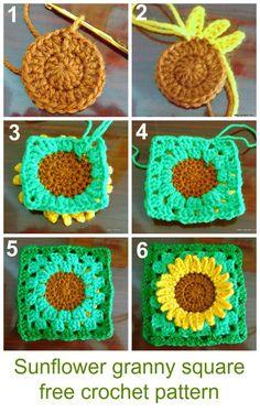 how to crochet sunflower granny square #freecrochetpattern #grannysquare: