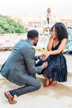 Dreamy surprise proposal in Park Guell, Barcelona: http://www.stylemepretty.com/destination-weddings/spain-weddings/2016/05/13/he-proposed-with-a-pair-of-pink-louboutins-and-a-stunning-ring/ | Photography: En Route Photography - http://enroutephotography.com/