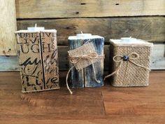 Rustikale Holz für Teelicht Kerzenhalter