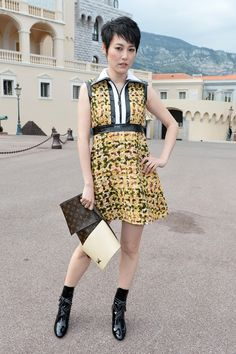 Rinko in a tweed mini with leather detailing in picturesque Monaco. #LVCruise