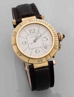 Cartier Herrenarmbanduhr Pasha GG 750/000 Automatik mit Sekunde und Datumsanzeige,cremefarbiges Ziff — Schmuck