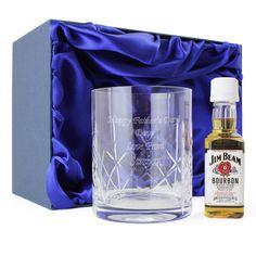 Crystal Glass and Bourbon Whisky Miniature Set Gift | Vivabop | www.vivabop.co.uk