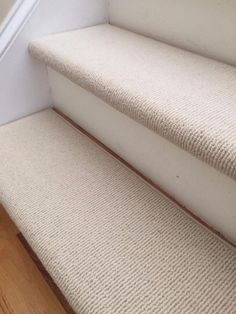 Bristol Ivory New Zealand Wool! – PADDED True Bullnose™ Carpet Stair Tread Runner Replacement for Style, Comfort and Safety (Sold Each) – carpet stairs Wood And Carpet Stairs, Striped Carpet Stairs, Patterned Stair Carpet, Striped Carpets, Carpet Staircase, Wood Stairs, Painted Stairs, Bullnose Carpet Stair Treads, Bedroom Carpet Colors