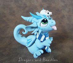 Winter Dragon with Ratty Friend by DragonsAndBeasties on Etsy