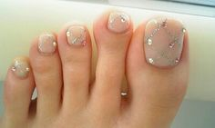 Wedding Nails-A Guide To The Perfect Manicure – NaiLovely Cute Toe Nails, Toe Nail Art, Love Nails, My Nails, Nail Swag, Gorgeous Nails, Pretty Nails, Wedding Day Nails, Wedding Toes