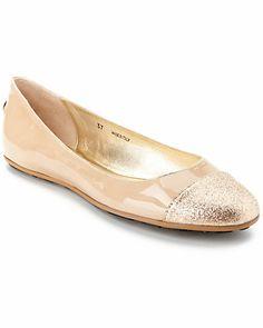 "Jimmy Choo ""Whirl"" Glitter Cap-Toe Patent Ballet Flat"
