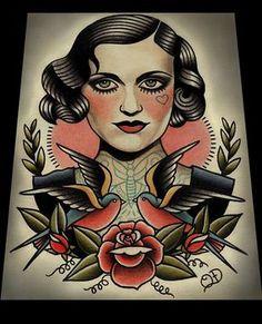 Flapper und Schwalben-Kunstdruck von ParlorTattooPrints auf Etsy