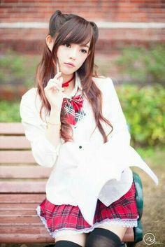 Cute Girl School Girl Japan, Japan Girl, Cute Asian Girls, Beautiful Asian Girls, Cute Girls, Kawai Japan, Yuri, Japanese Uniform, Cute Kawaii Girl
