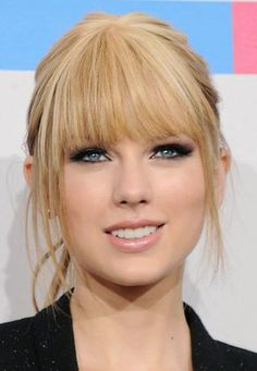 Taylor swift make up look. Smoky eyes, nude lip. Full bangs. Blonde with fair complexion and green eyes.