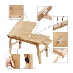 Solid Wood Foldable Notebook Laptop Table, Adjustable Height & Angle Folding Food Bed Lap Top Tray Table Desk, FBT02-N