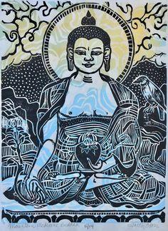 """Mountain Medicine Buddha"" – Faith Stone – Lion's Roar Stone Lion, Thangka Painting, Prayer Flags, Hindu Art, Buddhist Art, Red Background, Woodblock Print, Watercolor And Ink, Original Image"