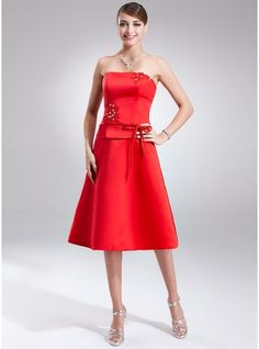 A-Line/Princess Strapless Knee-Length Satin Bridesmaid Dress With Sash Beading Bow(s) $89.99