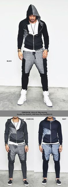 Gymwear Set :: Easy Semi Baggy Fit Contrast Cargo-Gymwear 05 - Mens Fashion…