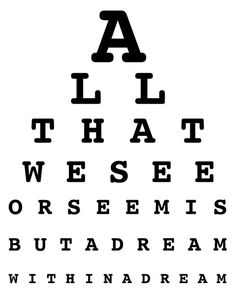 """""""All that we see or seem  is but a dream within a dream.""""  - edgar allan poe"""
