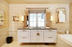 cottage bathroom...another great melding of old and new styles