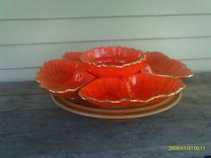 vintage california pottery lazy susan server relish tray