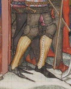 BL Latin 757, f. 76r, Italy, 1385-1390 Appears to be laced-closed cased greaves - possibly of leather, given the coloration and texture, along with the absence of a lateral side seam or hinges.