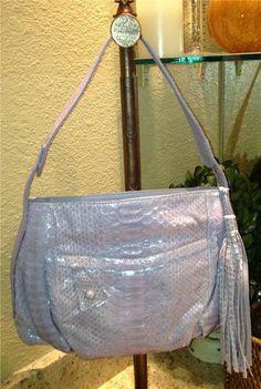 New Auth $1000 Carlos Falchi Lilac Python Hobo Shoulderbag Handbag Purse | eBay