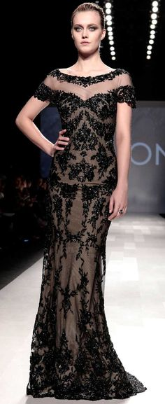PAVONI Black Lace Gown