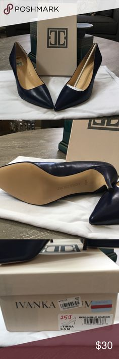 "Ivanka Blue Leather ""Tirra"" pumps Sleek navy pumps. Never worn, excellent condition. Ivanka Trump Shoes Heels"
