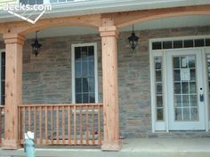 Front porches and cedar porch trim. Porch Trim, Front Porch Deck, Front Porch Design, Front Porches, Deck Pictures, Outdoor Ideas, Outdoor Decor, Front Steps, Decks And Porches