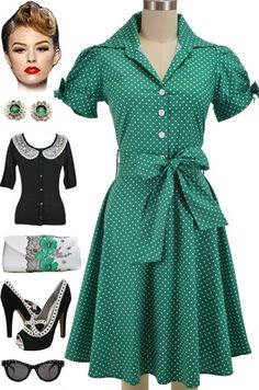 Brand new at Le Bomb Shop!! PLUS SIZES & Regular sizes! Green & White Polka Dot, Tie Sleeve, Lucy, Pinup Day Dress! Find it here at Le Bomb Shop: http://lebombshop.net/search?type=product&q=%22tie+sleeve+lucy+day+dress%22&search-button.x=0&search-button.y=0