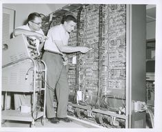 Testing electrical components in the 1950s as the Census Bureau was transitioning from mechanical tabulation using punch cards to computers using magnetic computer tapes. Learn more at http://www.census.gov/history/