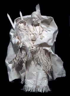 Wife-and-Son-of-Medicine-Bull.Fine Art & Cast Paper Sculpture  by Eckman