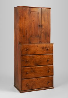 Cupboard Date: Geography: Probably made in New Lebanon, New York, United States Culture: American, Shaker Medium: Pine Dimensions: 73 x 31 x 18 in. Colonial Furniture, Primitive Furniture, Primitive Antiques, Antique Furniture, Home Furniture, Furniture Design, Furniture Makers, Antique Couch, Mission Furniture
