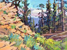 "Ƥσʂ৳ƈąɽɖʂ Ƒɽσɱ Ꭶąɳ৳ą ᙖąɽɓąɽą,ƇᎯ. ~ ""Lily Meadows Canyon"", Maricopa, California. The purple underpainting with the contrasting pine in front makes me happy."