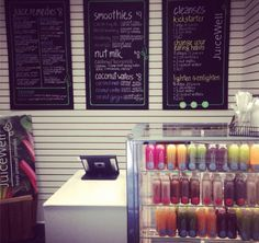 This is a photo of a juice bar in NYC. But I want my juice to be able to suit th. - Juice Bar One Day for beginners juice Smoothie Bar, Smoothies, Raw Juice Bar, Juice Bars, Juice Bar Design, Pureed Food Recipes, Juice Recipes, Juice Packaging, Bar Menu