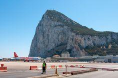 Airplane runway under the Rock of Gibraltar