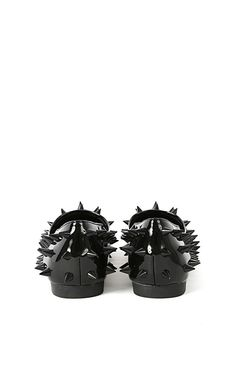 Dynamo Clear Spiked Flats | MakeMeChic.com