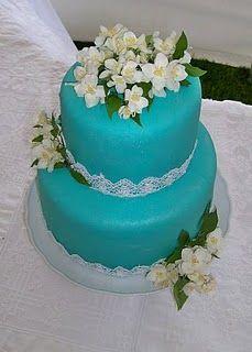 Simple turquoise wedding cake