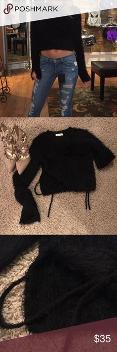 Furry black crop sweater Brand new. Furry black. Ties on side. NWOT. French Connection Sweaters Crew & Scoop Necks