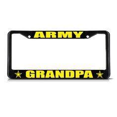 License Plate Frame Mall - ARMY GRANDPA Black Metal Heavy Duty License Plate Frame Tag Border, $17.99 (http://licenseplateframemall.com/army-grandpa-black-metal-heavy-duty-license-plate-frame-tag-border/)
