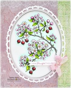 """Framed Flowering Branches: Power Poppy digital Flowering Branches image, Copic markers (with stepped out photos), and Spellbinders dies. Finished size is 8"""" x 10""""."""