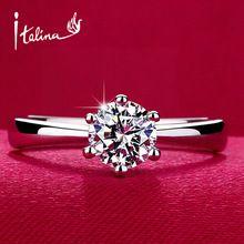Italina 1 carati 6mm cz diamante anelli di cerimonia nuziale per le donne anel 925 gioielli in argento sterling anelli di fidanzamento femminile aneis anillos(China (Mainland))