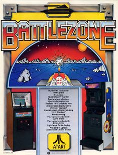 Battlezone is an arcade game from Atari released in 1980. It displays a wireframe view (using vector graphics rather than raster graphics) on a horizontal black and white (with green and red sectioned color overlay) vector monitor. Due to its novel gameplay and look, this game was very popular for many years.