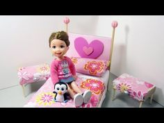 How to make a bed and side tables from cardboard for your doll