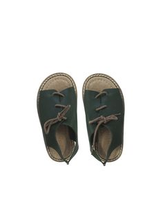 TINYCOTTONS Leather Laced Sandals - green or peach | petitfauve.com